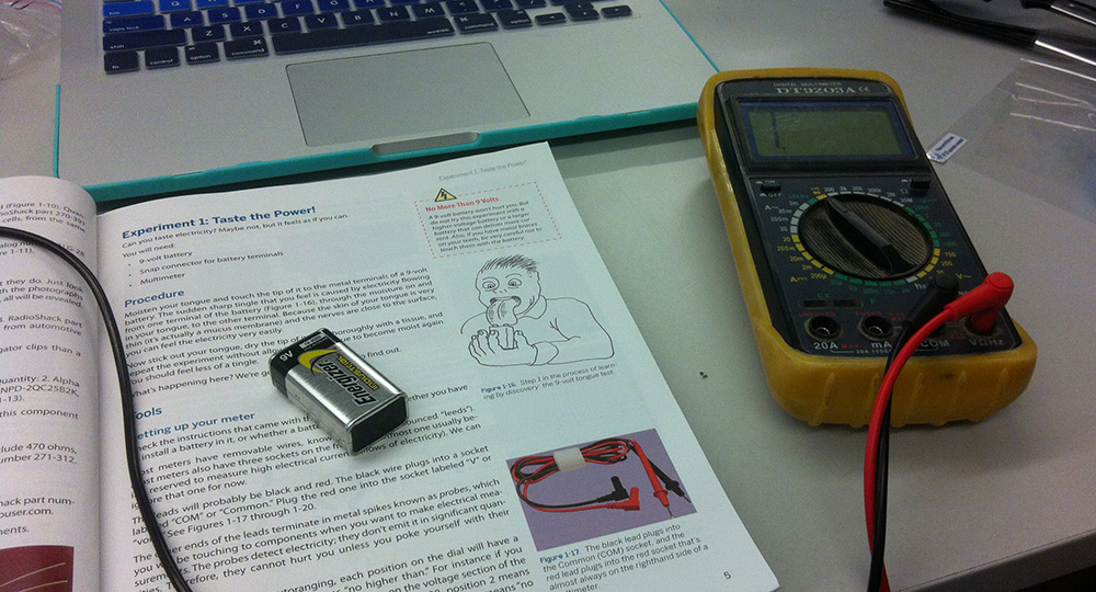 Experiment one: putting a 9V battery on your tongue.