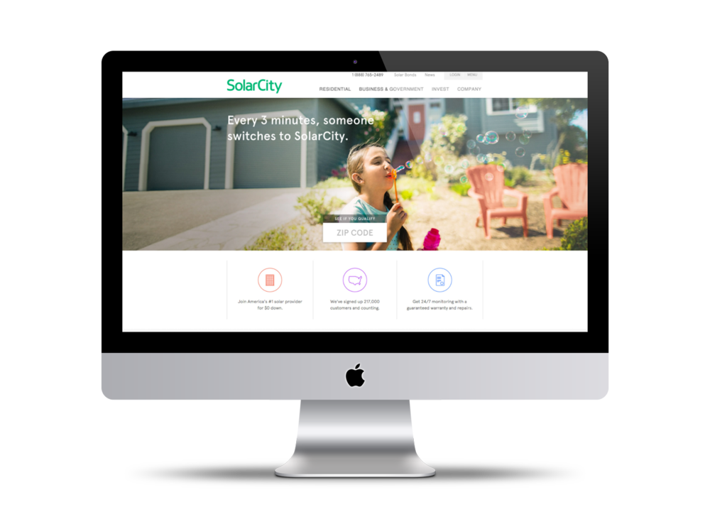 SolarCity's website before the redesign.