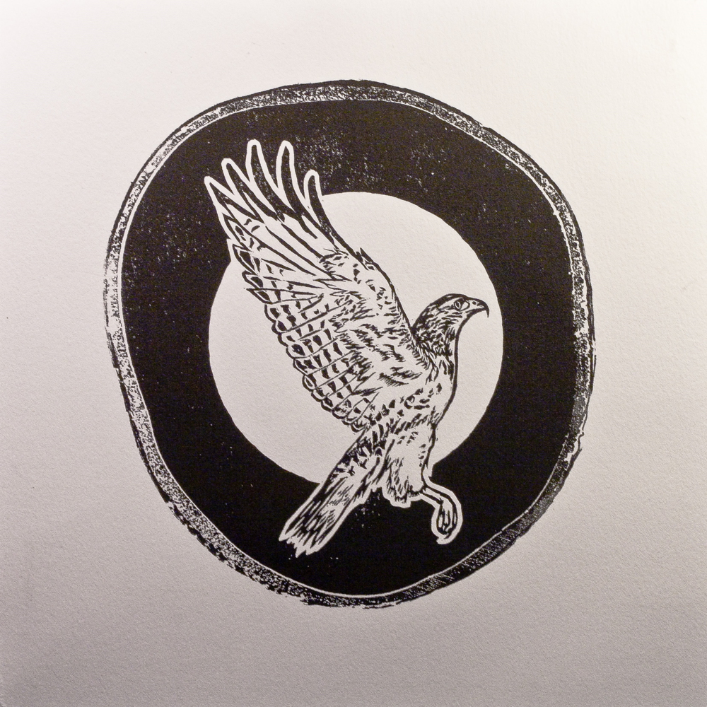 Red Tailed woodcut print