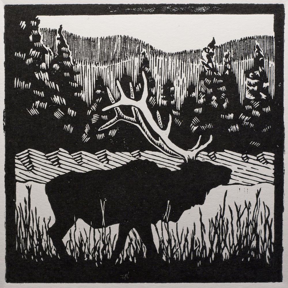 The Crown woodblock print