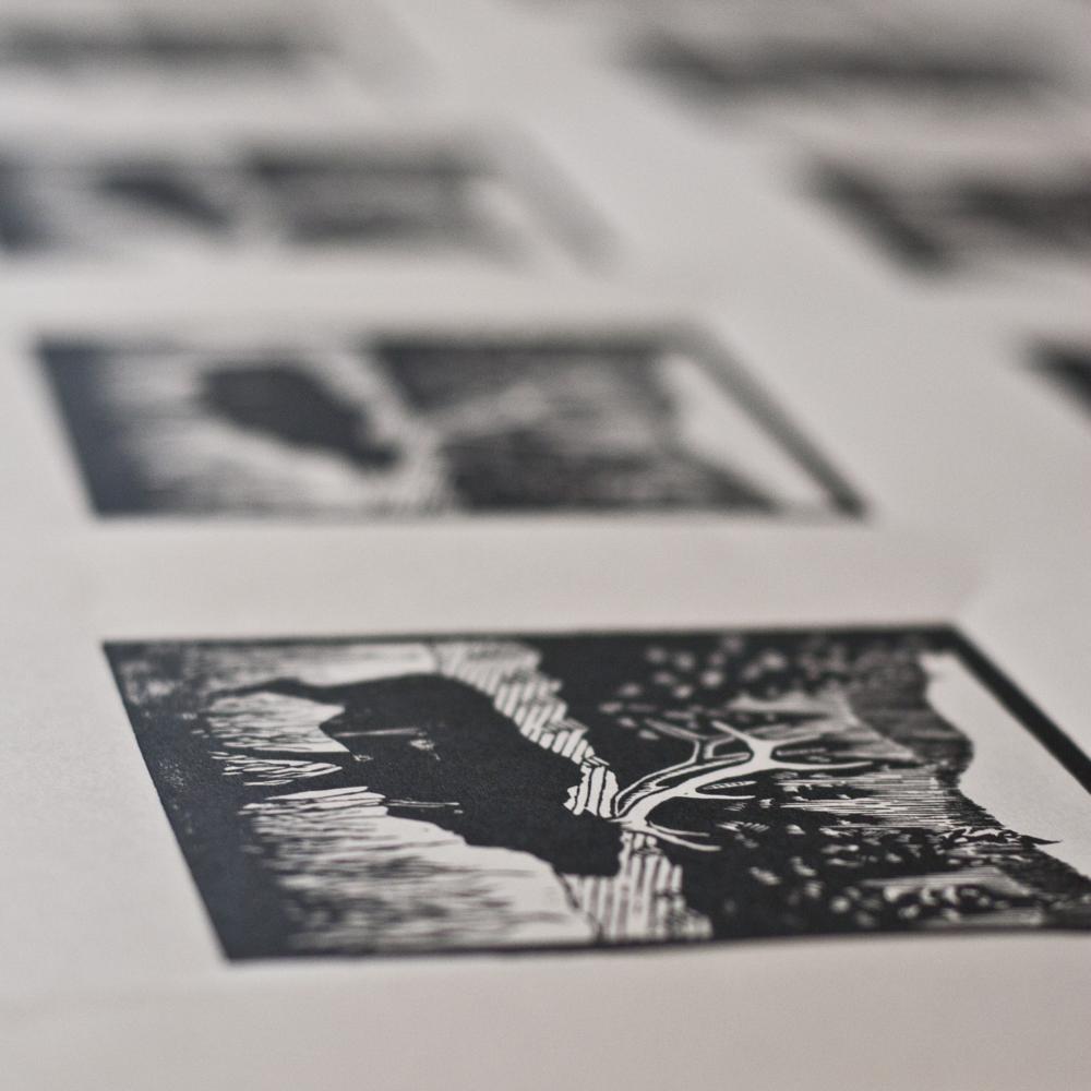 Woodblock prints drying
