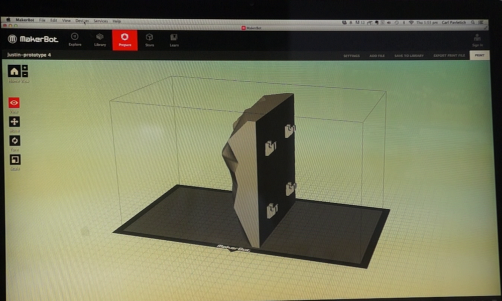 Once you download the design file, place it into your program for printing. We use the following settings:   infill = 0%  # shells = 4   layer height 0.4mm  temperature to 220  speed extruding = 100 mm/s  speed traveling = 180 mm/s  Save your settings, and see how long it will print.  Our's estimates 5.09 but in reality it takes 3 hours and 40 minutes (makerbot 3D printer)