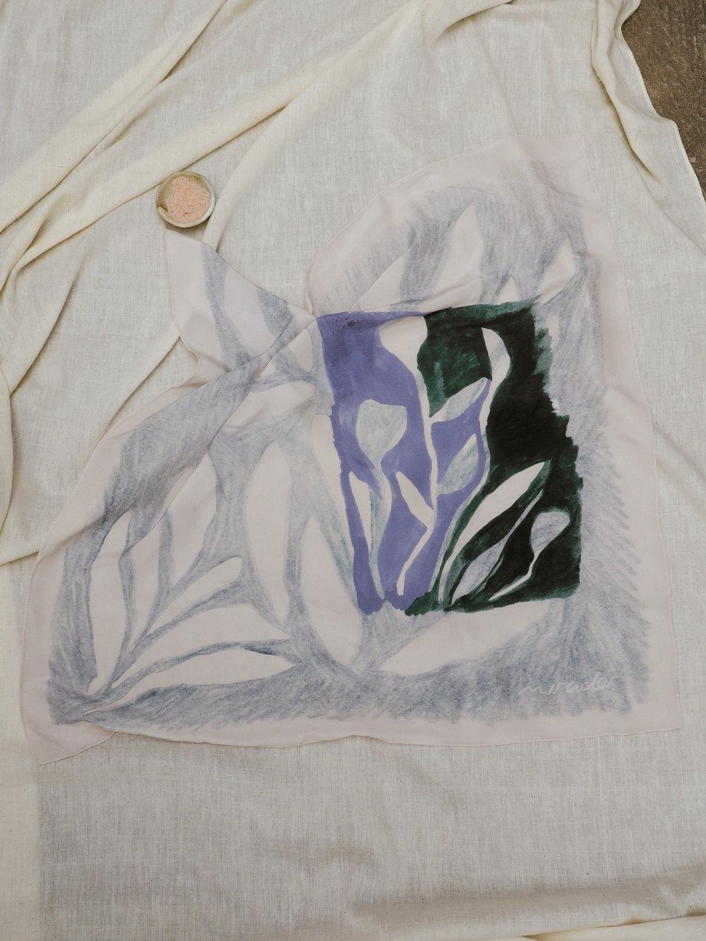 'Grey Gum' silk scarf by Mirador