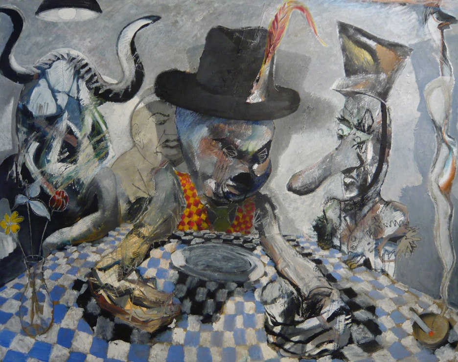 """Hats and Evil"", 2008, Oil on Canvas, (Sold), currently in Lisbon, Portugal, 48""x60"""