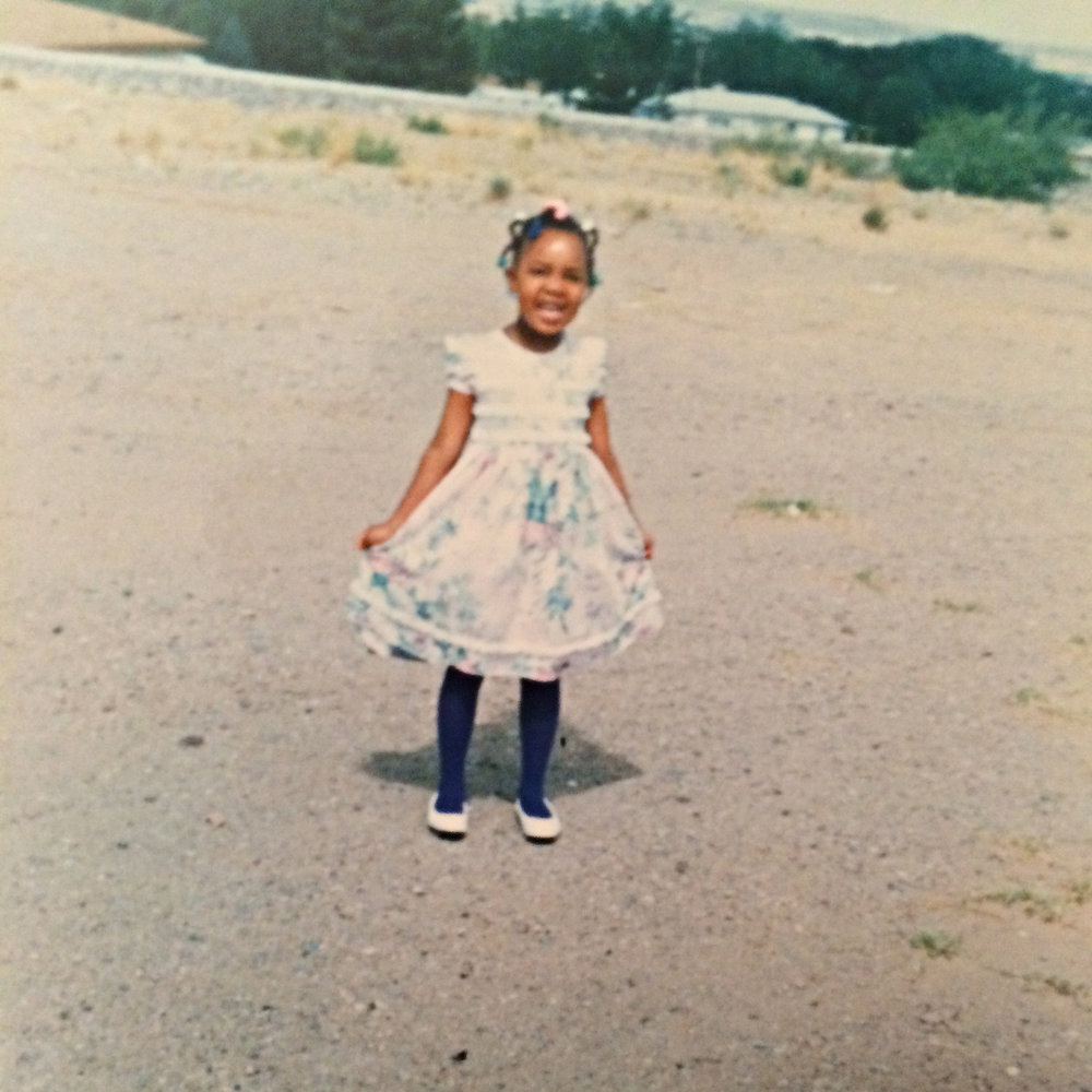 Little Ari out in New Mexico somewhere after church. #TeamArmyBrat