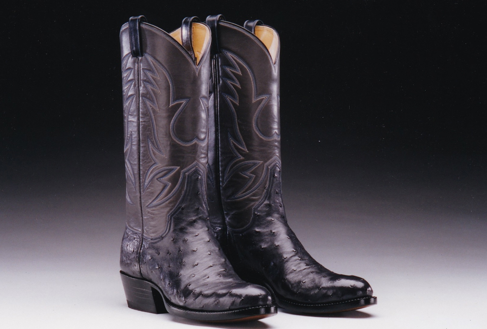 Ostrich and Calf Leather Boots