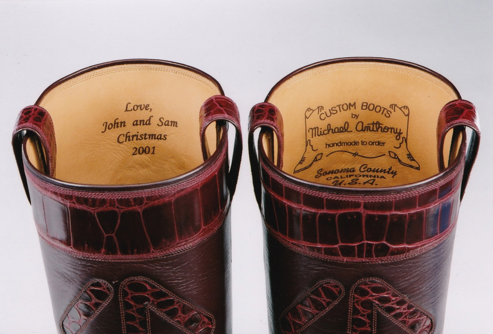 View of Personalized Note in Custom Made Pair of Boots