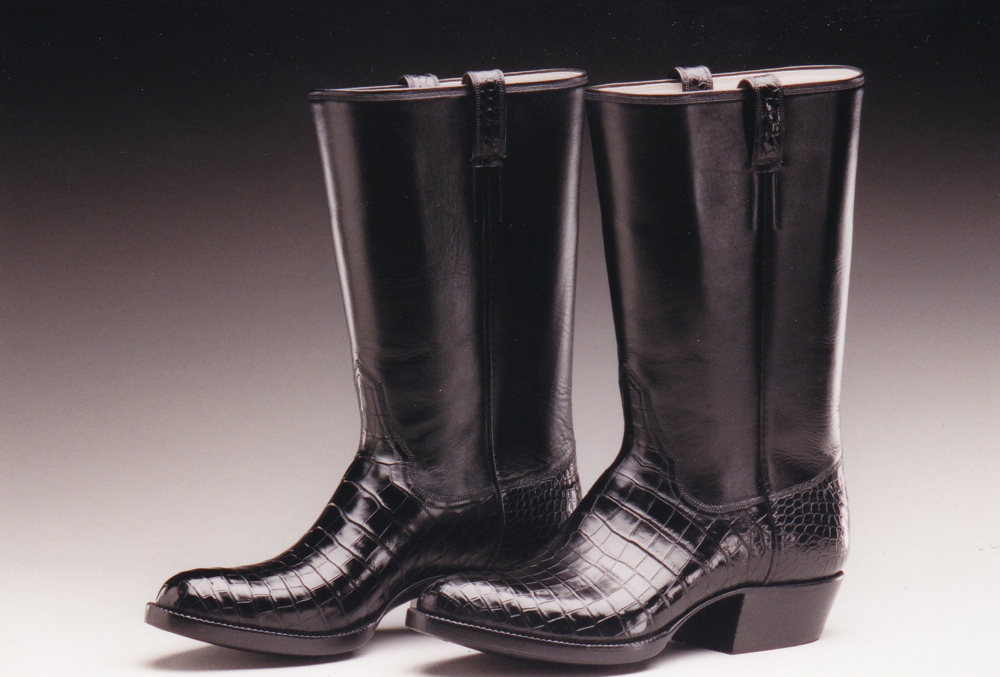 Handsome Black Crocodile Leather Boots
