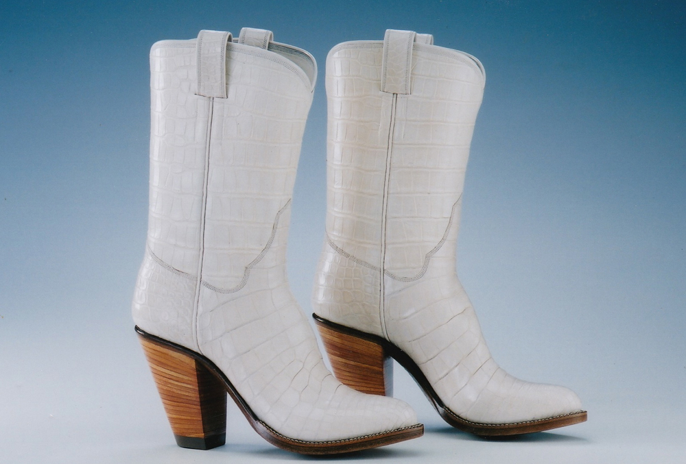 White Leather High Heeled Western Boot