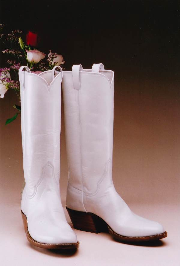 Elegant White Wedding Western Boots