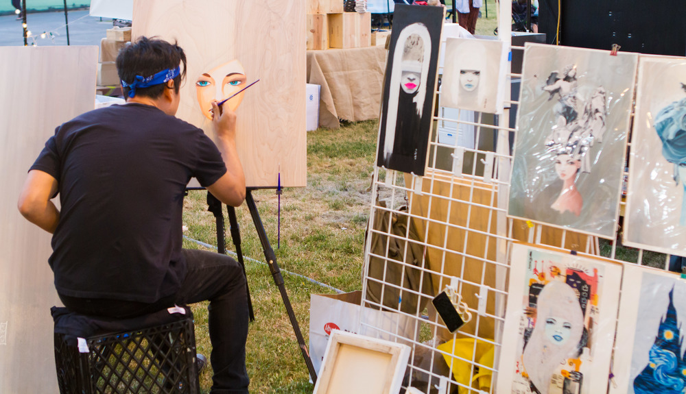Artists have the opportunity to showcase and sell their work ranging a wide array of mediums at OC Night Market. | Photo by Albert Chen