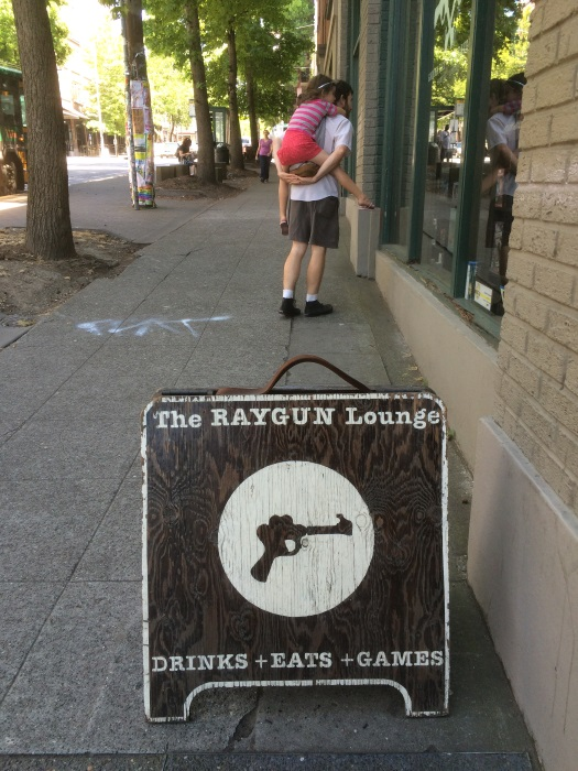 Raygun games, with my friend Ryan and his daughter Ella in the background.