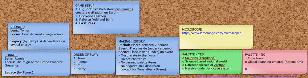 A screenshot that shows some of the game setup, rules, and palette (as well as information about the 2 rounds of play, which came later)