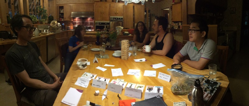 Dread session panoramic, with players H, a sibling, player J, player S, and player A.