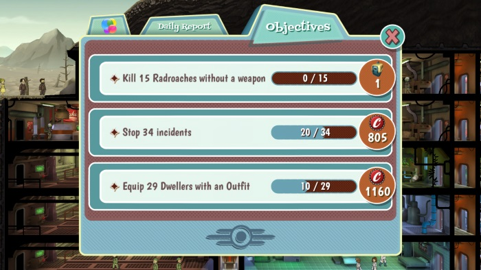 A common objective screen from the phone game.
