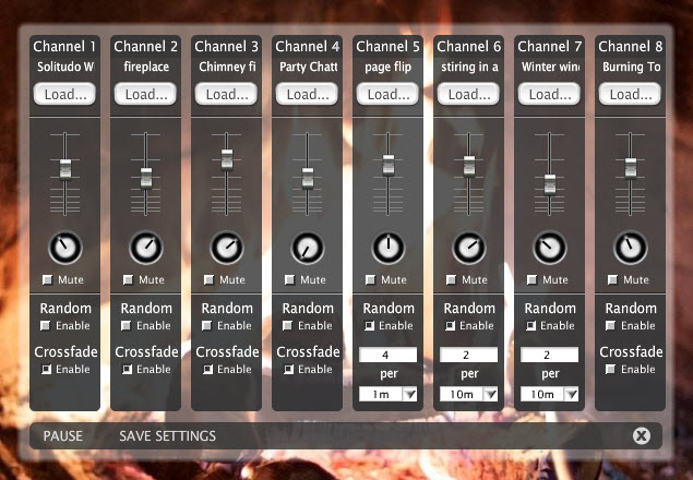 "The Ambient Mixer for ""Studying at Hogwarts"", with sounds for fireplace, background chatter, flipping through pages in a book, and more."
