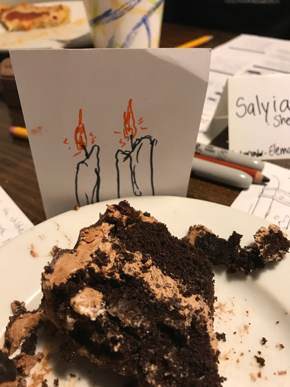 I bought the last two slices of their delicious chocolate cake to share among the participants. Thanks David for those amazing candles!