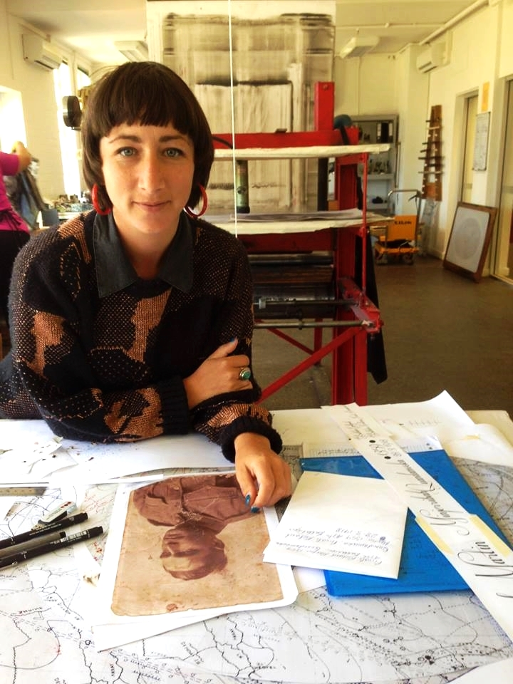 Megan Cope working in the Lithography Studio.