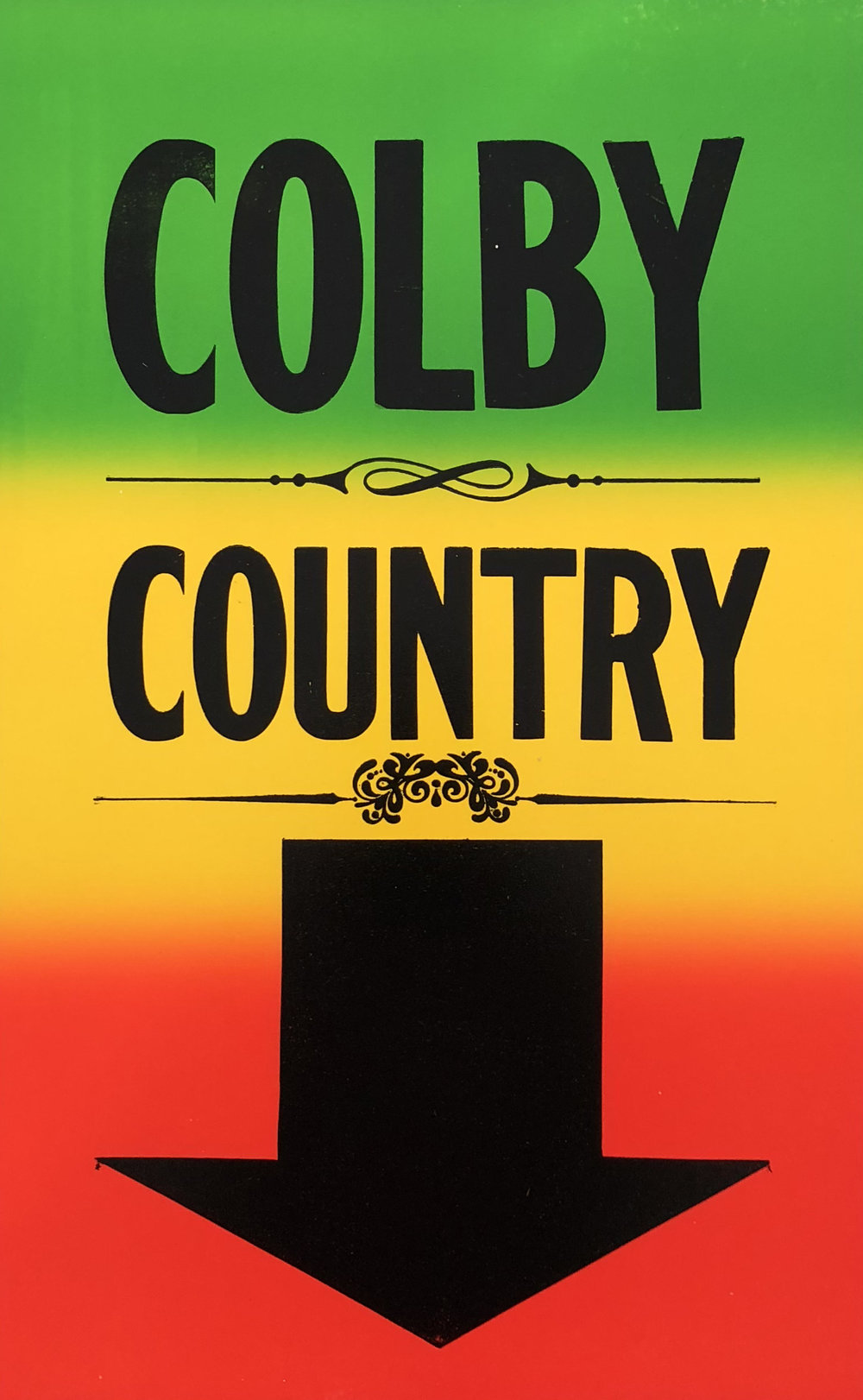 Image: WENDY MURRAY: Colby Country, letterpress on Colby Poster Printing Co. archive poster, 55x35cm, 2018