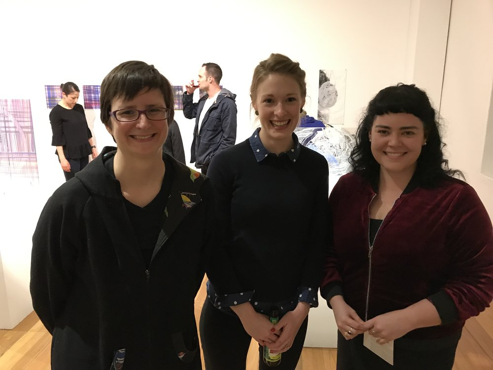 L-R: Megalo Board Chair, Penny Grist, Former Acting Director Megan Hinton and Board Secretary Kate Ross at the opening of Jimmy Langer's exhibition at Megalo in 2017.