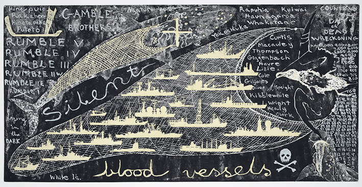 Image:  Lying in the Dark,  Fiona Hall, etching, aquatint, screen print, 2011