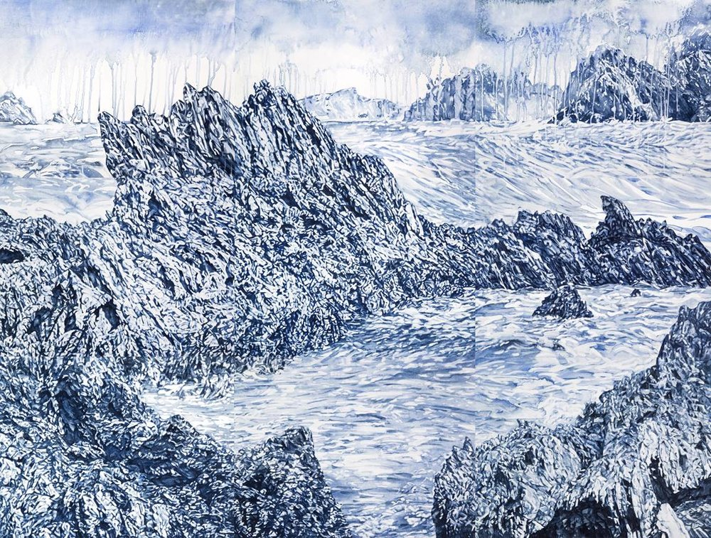Annika Romeyn,  Guerilla Bay watercolour monotype, 2019  168cm x 228cm