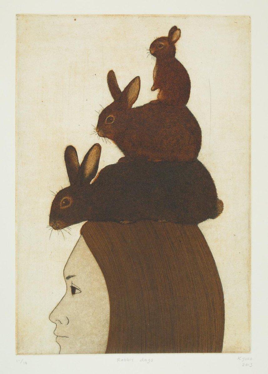 Kyoko Imazu: Journey of Rabbit Days, etching 2013. Kyoko is represented by Australian Galleries