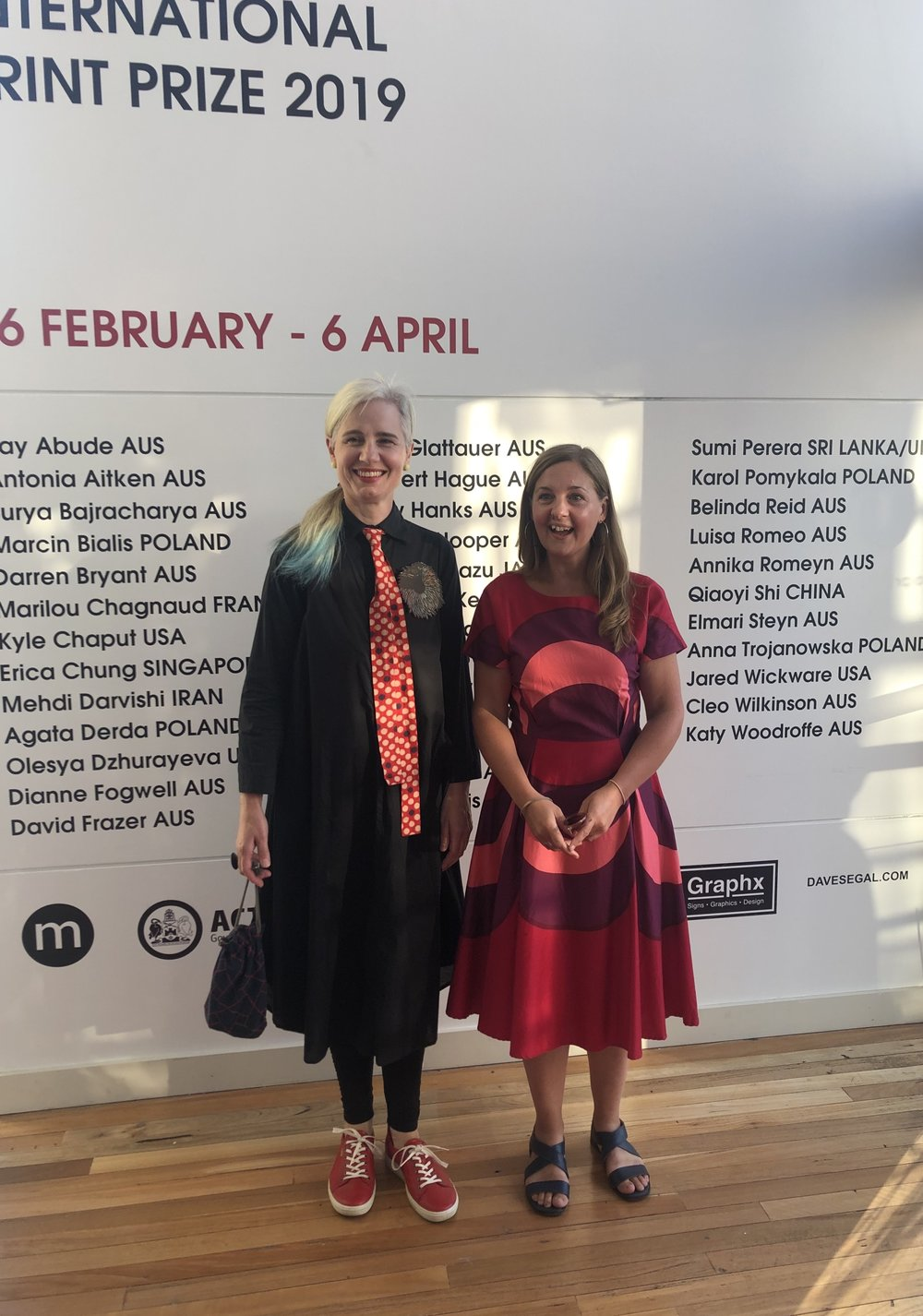 Image: Artists in Residence Pia Larsen (NSW) + Rachel Duckhouse (Scotland) at the Megalo International Print Prize Awards 2019