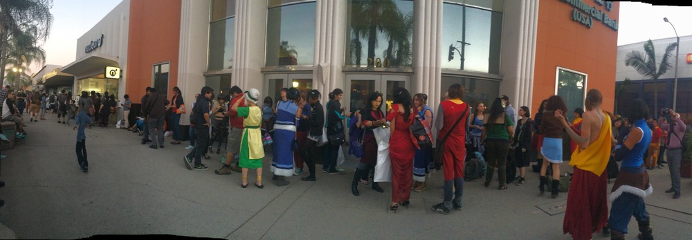 Fans of The Legend of Korra and Avatar: The Last Airbender line up around the block, hoping to get into Gallery Necleus. (Photography: Shirley Huang)