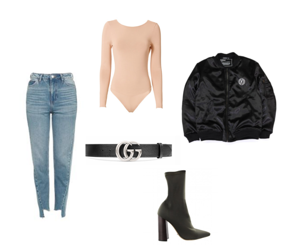 DENIM - TOPSHOP // BODYSUIT - INTERMIX // BOMBER - ORDNRY // BELT - GUCCI // BOOTS - TONY BIANCO