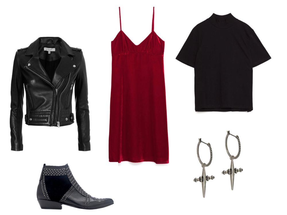 LEATHER JACKET - IRO // BOOTIES - ANINE BING // VELVET DRESS - ZARA // HIGH NECK T-SHIRT - ZARA // CROSS HOOPS - LUV AJ