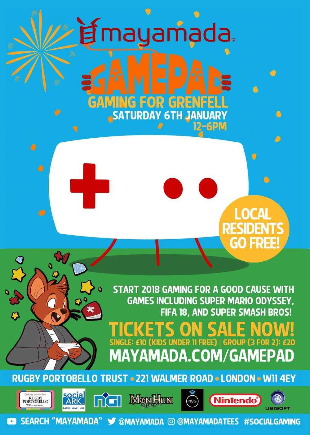 "Nintendo Social Group will be coming together on the 6th January with Mayamada, MonHun Offline, NGI events and Social Ark to bring a mini-con esque event which will be supporting a good cause.  The event will be ""Gaming for Grenfell"" and will be a charitable event to support the survivors of the Grenfell tower incident earlier this year, by raising money and also offering an event free to the local residents.  For all our Nintendo fans we will have Super Mario Odyssey, Mario Kart 8 Deluxe, Mario+Rabbids Kingdom battle, ARMS, Snipperclips and Super Smash Bros to play, along with plenty of competitions.  Go to the site below for more information on how you can game for a good cause!   http://mayamada.com/gamepad/"