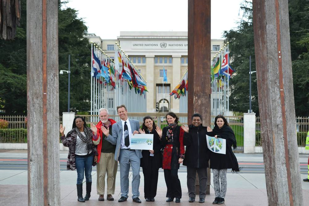 Wave goodbye to nuclear weapons in front of the United Nations by the broken chair sculpture in Geneva!