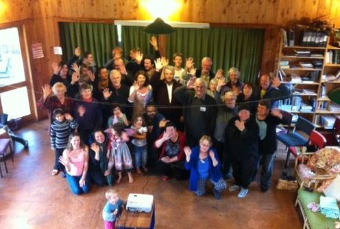 Wave goodbye to nuclear weapons from Earthsong community, Ranui, New Zealand.