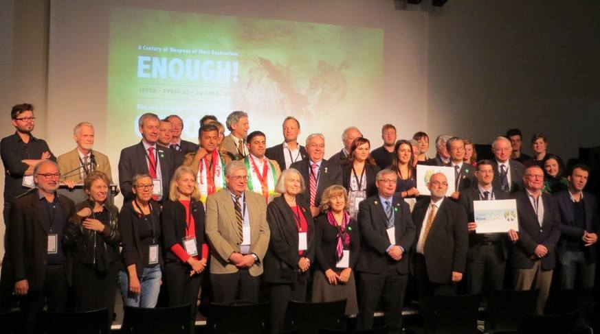 Mayors for Peace and the City of Ieper (Ypres) hold a conference on the 100th anniversary of the first use of chemical weapons in WWi. The conference calls for the abolition of all weapons of mass destruction and joins Global Wave 2015 to wave goodbye to nuclear weapons