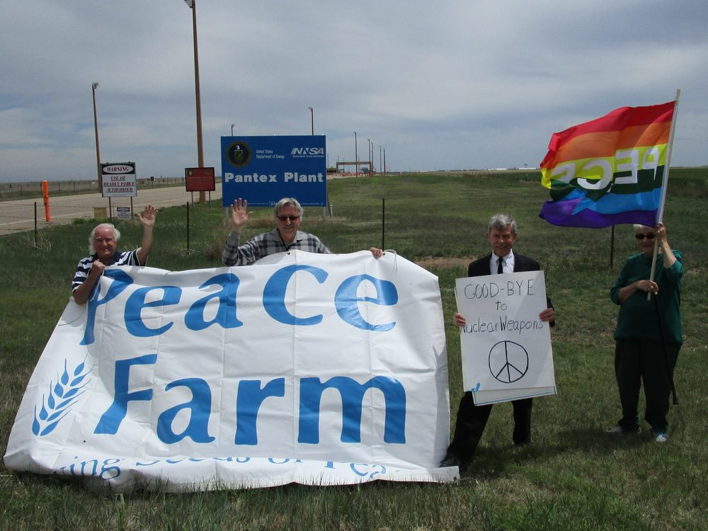 Members of The Peace Farm in Amarillo, Tx waved good-bye today to nuclear weapons outside of the Pantex nuclear weapons plant near Amarillo.
