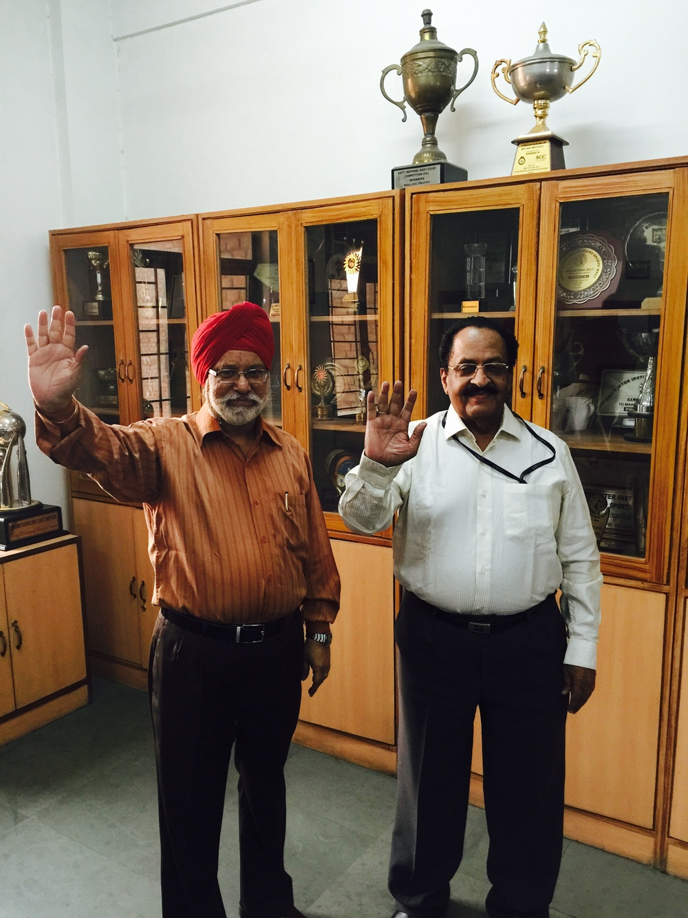 Prof. (Dr.) B. P. Singh Sehgal, Director, Amity Law School, Delhi. On the right: Prof. (Dr.) M. K. Balachandran, a professor of eminence and chair of Law, amity law school, Delhi waving goodbye to nuclear weapons!