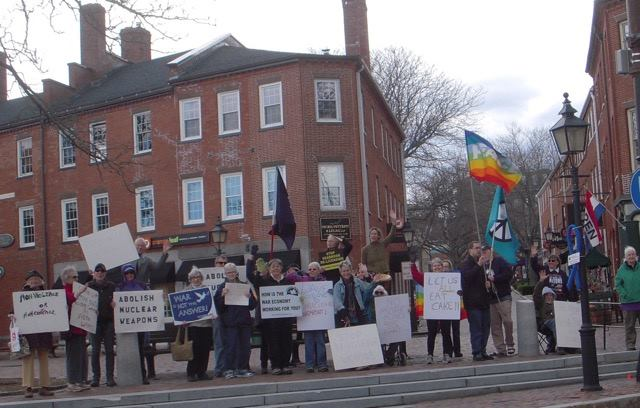 Peace activists in Newburyport waved goodbye to    ‪#‎  nuclear‬    weapons.
