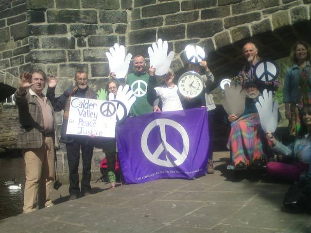 Calder Valley wave goodbye to Nukes from Hebden Bridge, UK.
