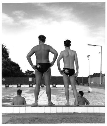 Photograph taken by Wett Ones' own Catherine Rogers, featuring swimmers Wayne Sherson, Bill Dunk, Jamie Cole and Selwyn Segal - taken in the style of Max Dupain's iconic 'Bondi' from 1939.