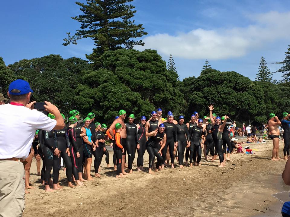 The swimmers for the 1.6km swim get ready to start!