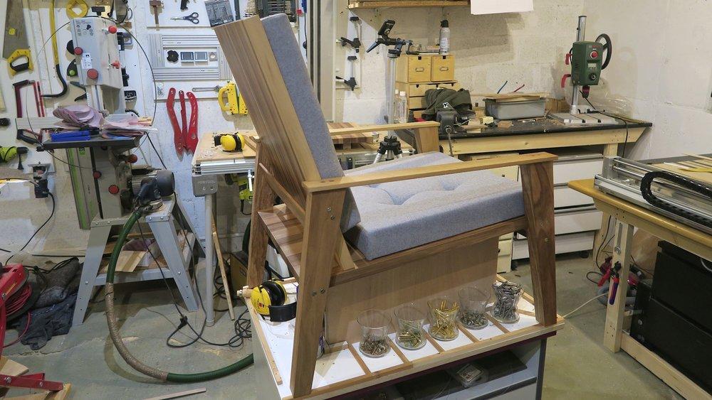 A walnut lounge chair in progress