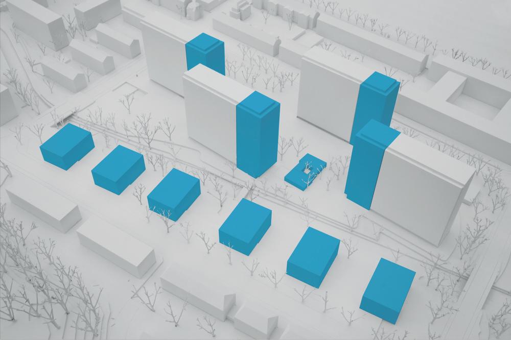 Maximal zulässiges Bauvolumen (Potenzial) gemäss dem neuen Bebauungsplan.Drei der sechs Mehrfamilienhäuser (Gellertstrasse 169 bis 181, rechts unten) bleiben im heutigen Zustand, da kürzlich saniert.