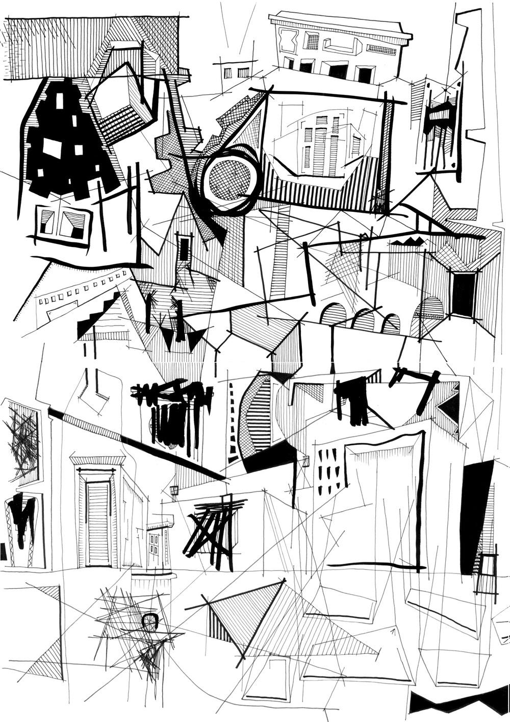 Ciudad Abierta.  Tinta sobre papel   (det)