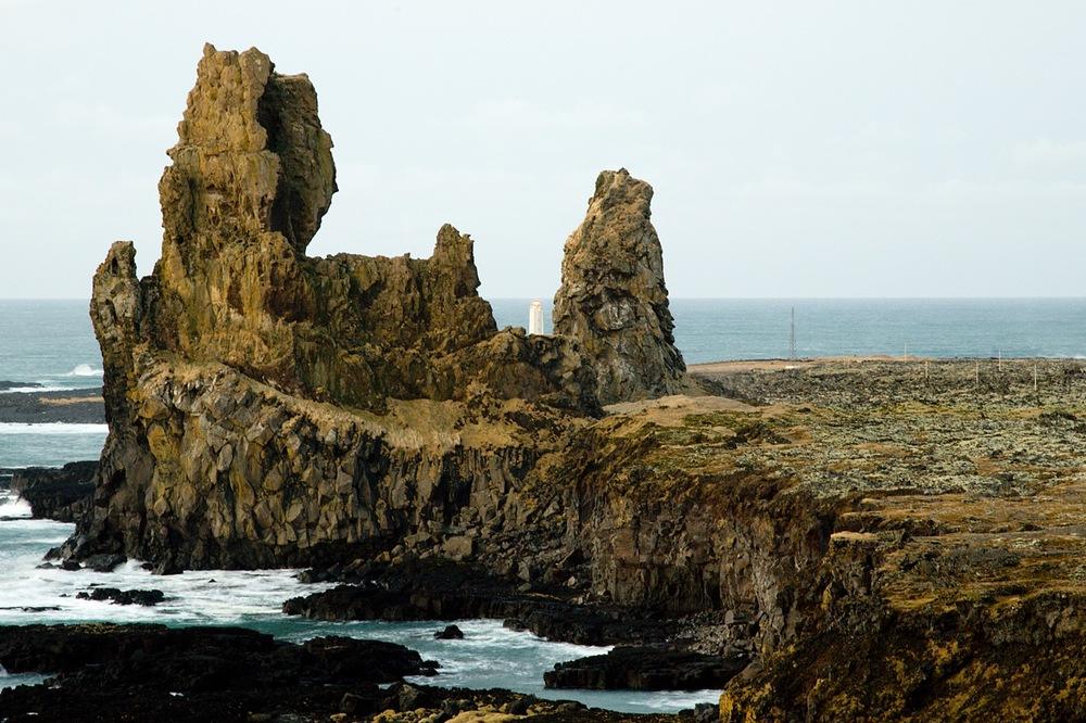 Lóndrangar volcanic lava pillars in west Iceland