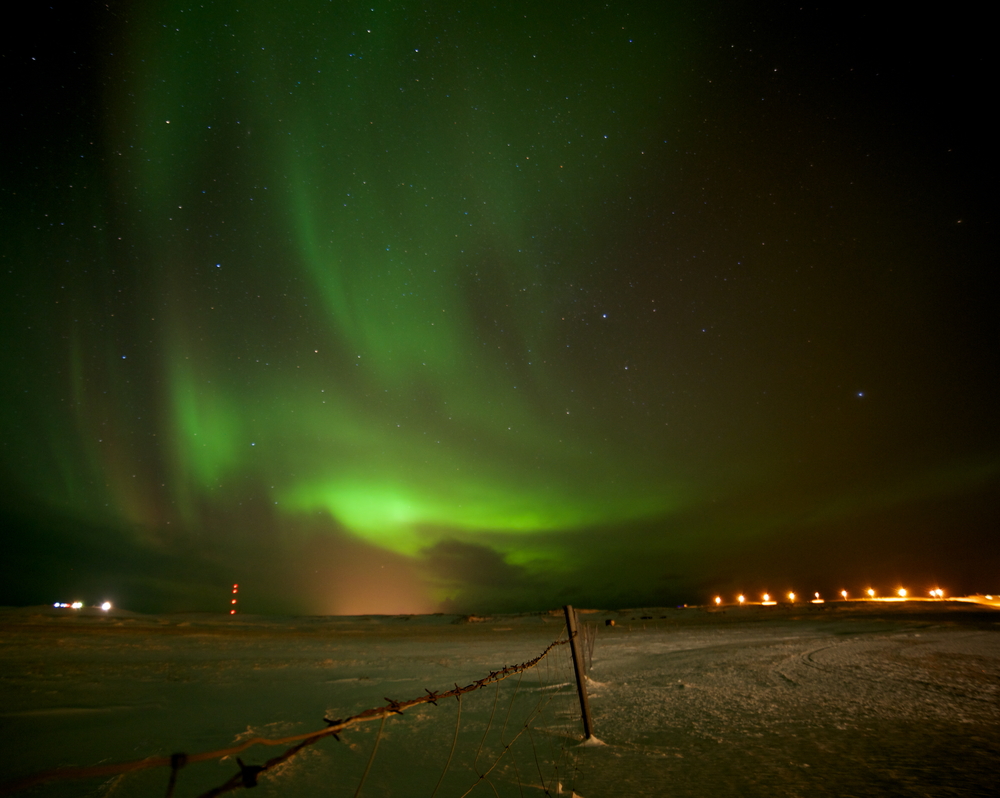 Northern lights over Rif in west Iceland