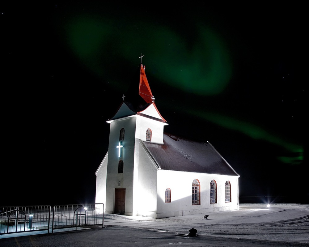 Ingjaldshólskirkja in west Iceland, the oldest stone church in the world