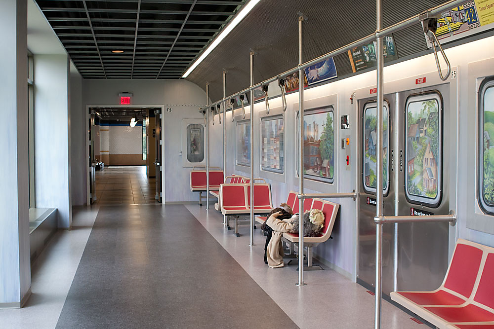 Epic have designed an office hallway to look like the New York subway incorporating vinyl and window graphics into their display.