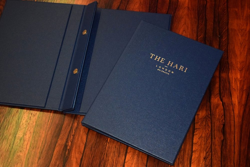 The Hari London Menu Designs