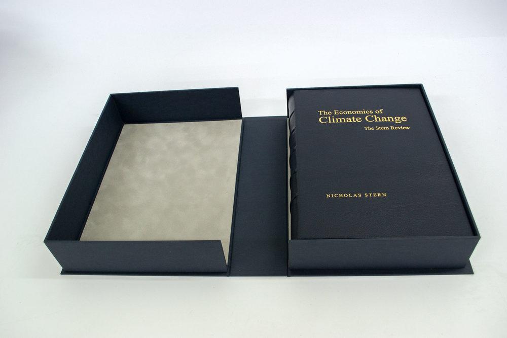 Leather bound book in presentation box